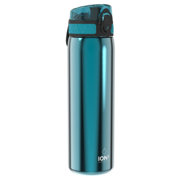 Ion8 Leak Proof Slim Water Bottle, Stainless Steel, Aqua, 600ml