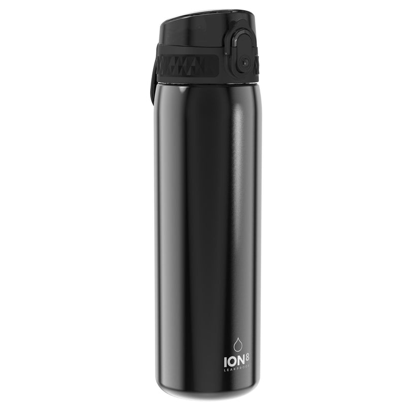 Ion8 Leak Proof Slim Water Bottle, Stainless Steel, Black, 600ml