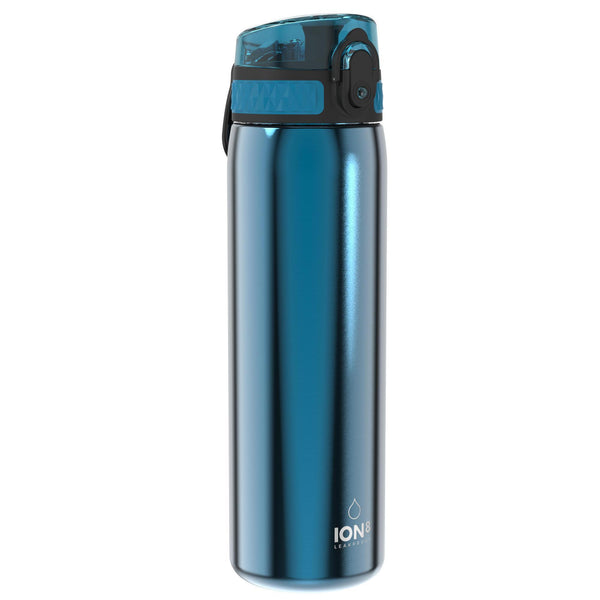 Ion8 Leak Proof Slim Water Bottle, Stainless Steel, Blue, 600ml