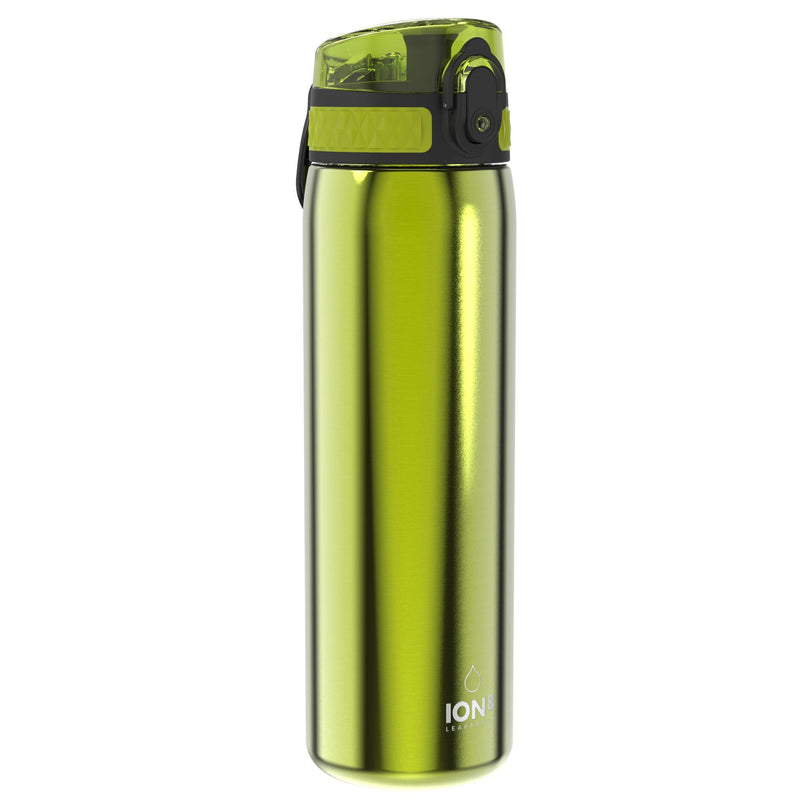 Ion8 Leak Proof Slim Water Bottle, Stainless Steel, Green, 600ml