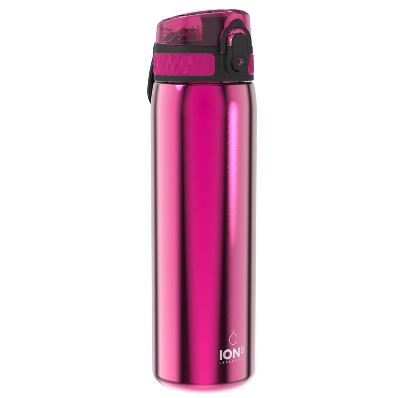 Ion8 Leak Proof Slim Water Bottle, Stainless Steel, Pink, 600ml