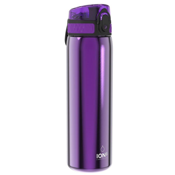 Ion8 Leak Proof Slim Water Bottle, Stainless Steel, Purple, 600ml