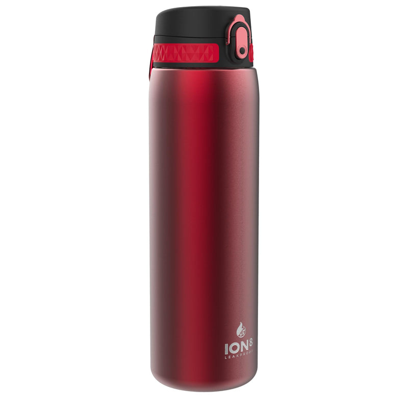 Ion8 Leak Proof 1 litre Steel Water Bottle, Vacuum Insulated, Red