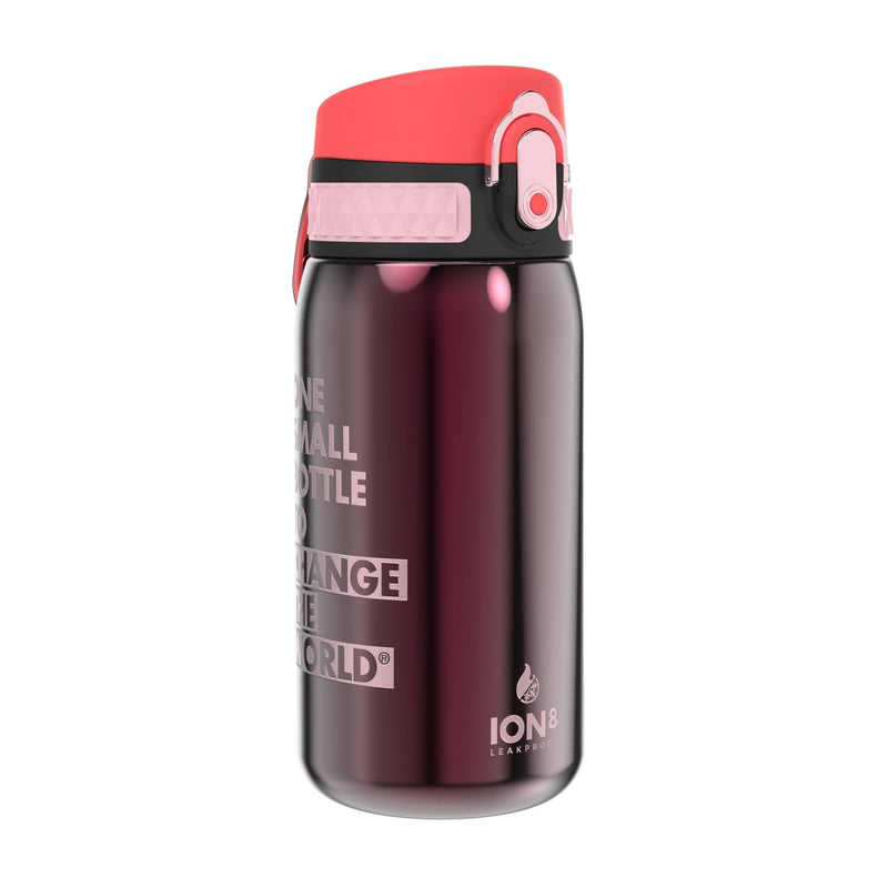 Ion8 Leak Proof Steel Water Bottle, Vacuum Insulated, Claret Red, 320ml