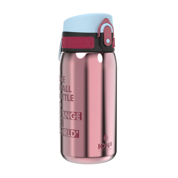 Ion8 Leak Proof Steel Water Bottle, Vacuum Insulated, Blossom Pink, 320ml
