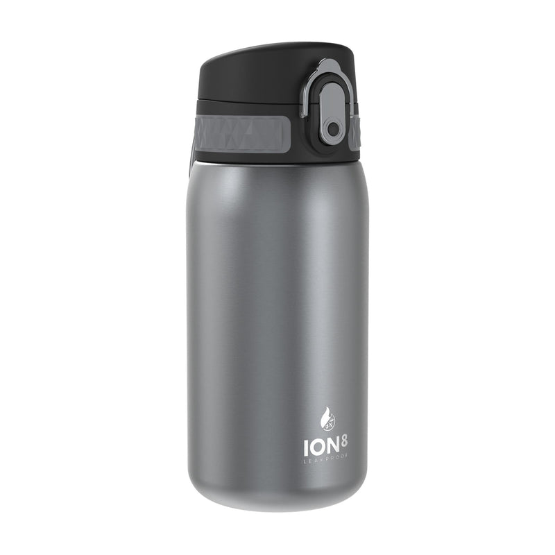 Ion8 Leak Proof Steel Water Bottle, Vacuum Insulated, Grey, 320ml