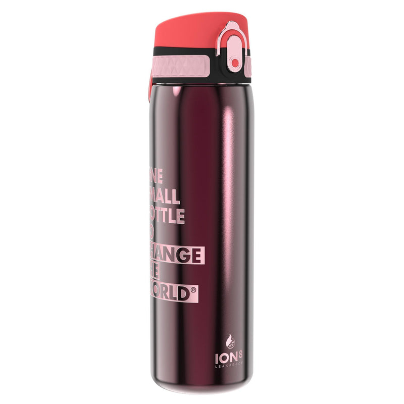 Ion8 Leak Proof Steel Water Bottle, Vacuum Insulated, Claret Red, 500ml