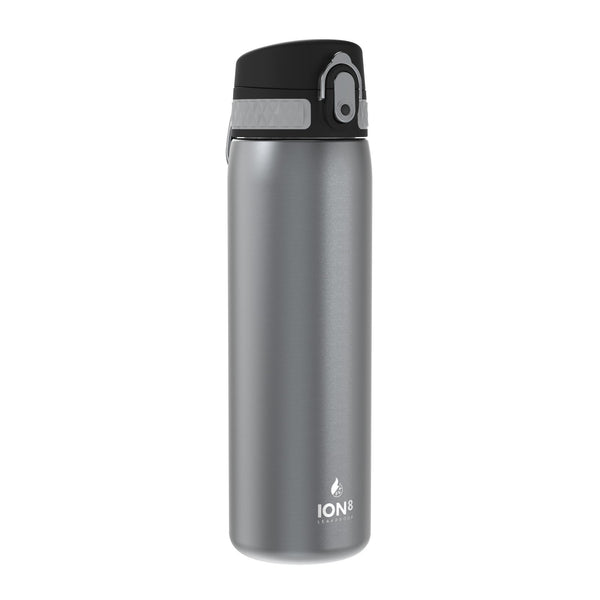 Ion8 Leak Proof Steel Water Bottle, Vacuum Insulated, Grey, 500ml