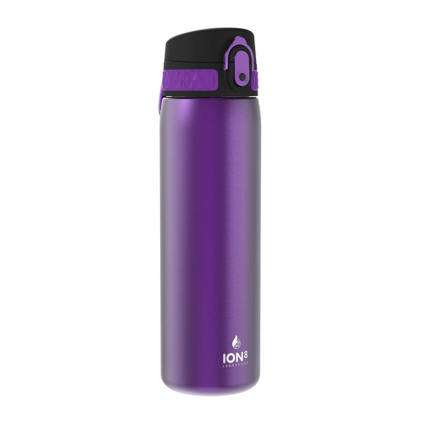 Ion8 Leak Proof Steel Water Bottle, Vacuum Insulated, Purple, 500ml