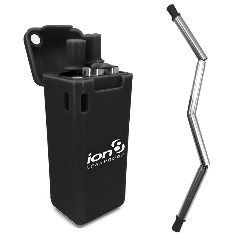 Ion8 Collapsible Reusable Stainless Steel Drinking Straw with Travel Case, Black