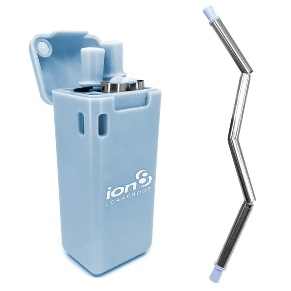 Ion8 Collapsible Reusable Stainless Steel Drinking Straw with Travel Case, Blue
