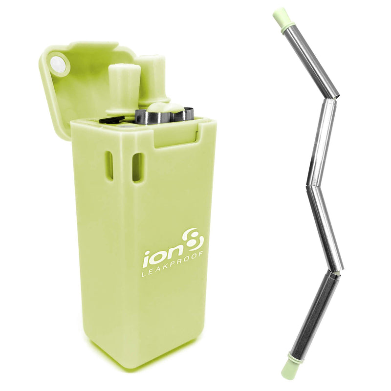Ion8 Collapsible Reusable Stainless Steel Drinking Straw with Travel Case, Green