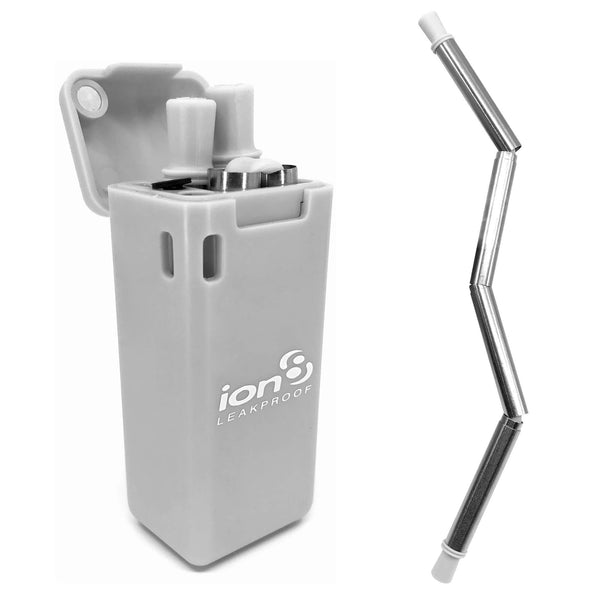 Ion8 Collapsible Reusable Stainless Steel Drinking Straw with Travel Case, Grey