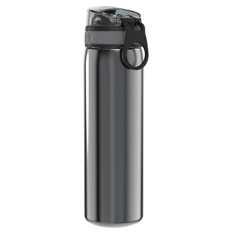 Ion8 Leak Proof Slim Water Bottle, Stainless Steel, Grey, 600ml