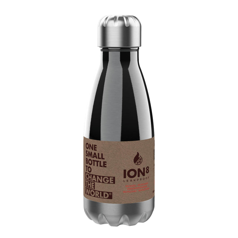 Ion8 Leak Proof Steel Water Bottle, Vacuum Insulated, Sparkling Grey, 280ml