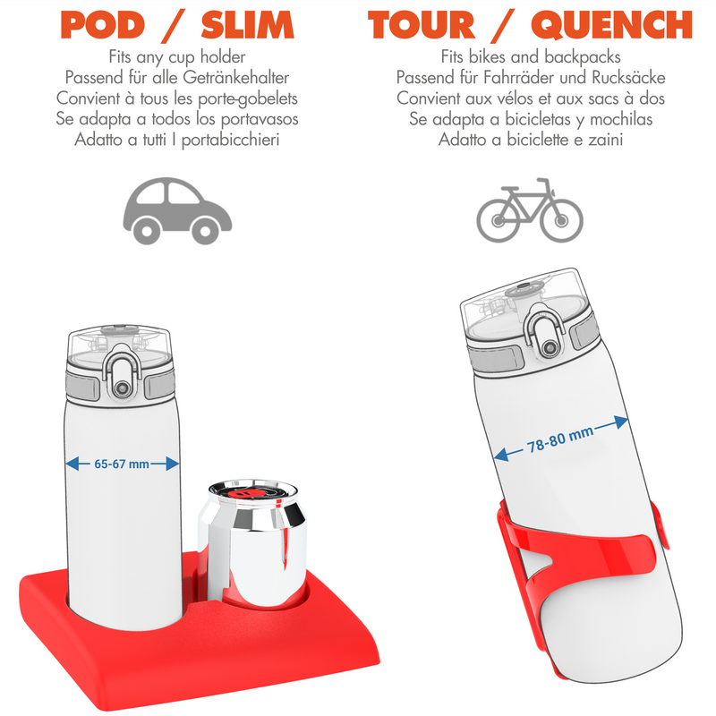 Ion8 Leak Proof Cycling Water Bottle, BPA Free, Red, 750ml