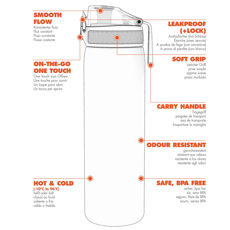 Ion8 Leak Proof Slim Water Bottle, BPA Free, Hasworld, 600ml