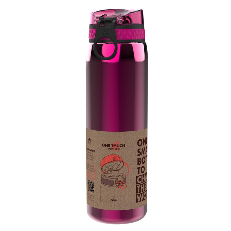 Ion8 Leak Proof 1 litre Sports Water Bottle, Stainless Steel, Pink, 1200ml