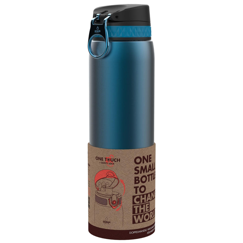 Ion8 Leak Proof 1 litre Steel Water Bottle, Vacuum Insulated, Blue