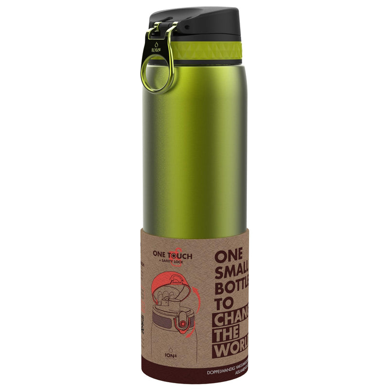 Ion8 Leak Proof 1 litre Steel Water Bottle, Vacuum Insulated, Green