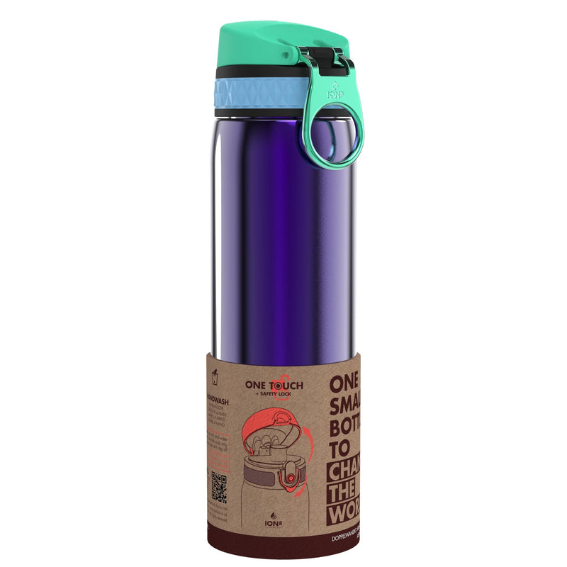 Ion8 Leak Proof Steel Water Bottle, Vacuum Insulated, African Violet, 500ml