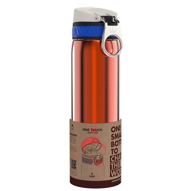 Ion8 Leak Proof Steel Water Bottle, Vacuum Insulated, Sunset Orange, 500ml