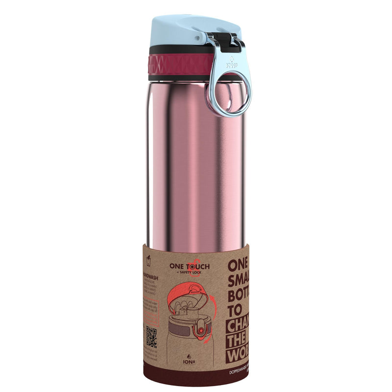 Ion8 Leak Proof Steel Water Bottle, Vacuum Insulated, Blossom Pink, 500ml