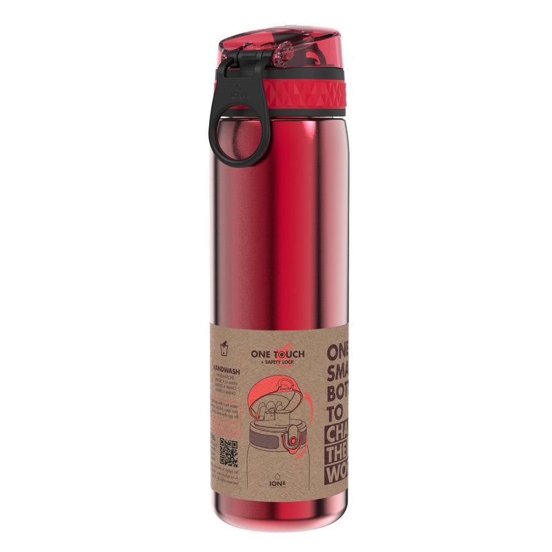Ion8 Leak Proof Slim Water Bottle, Stainless Steel, Red, 600ml