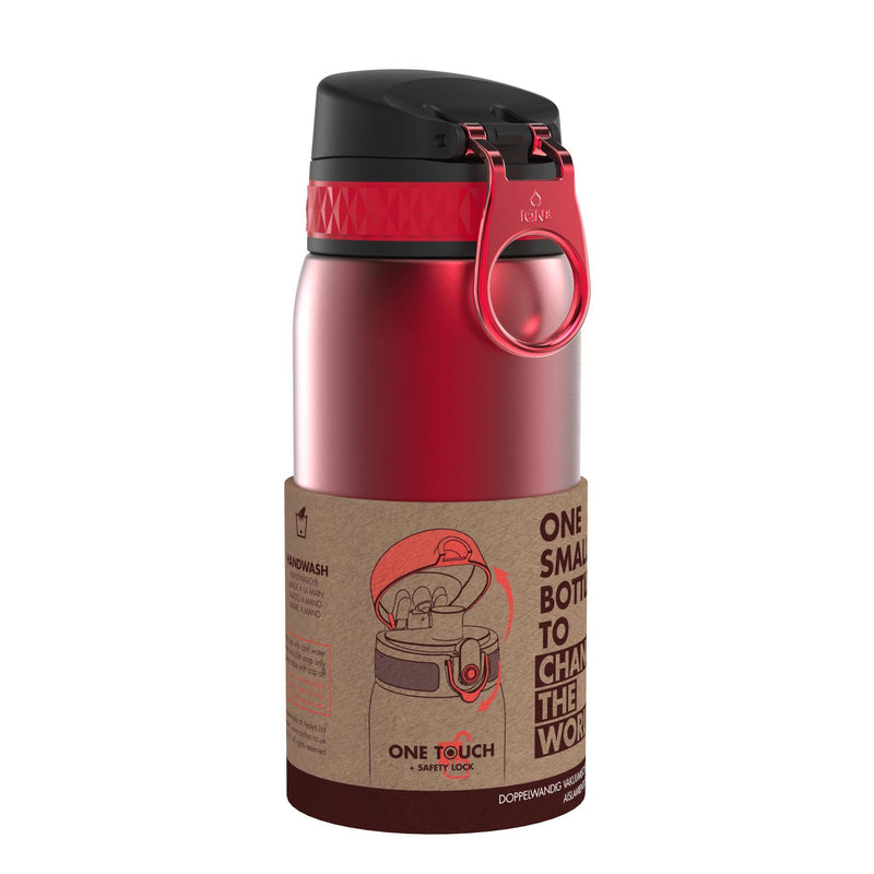 Ion8 Leak Proof Steel Water Bottle, Vacuum Insulated, Red, 320ml