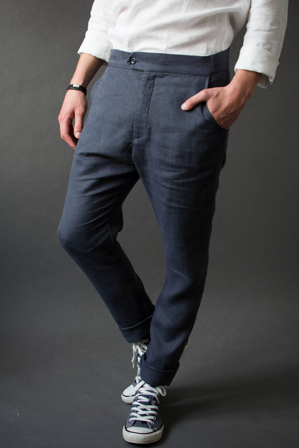 Men's casual linen pants, Linen wedding pants, Men's chino trousers, Tapered pants - VA2DU