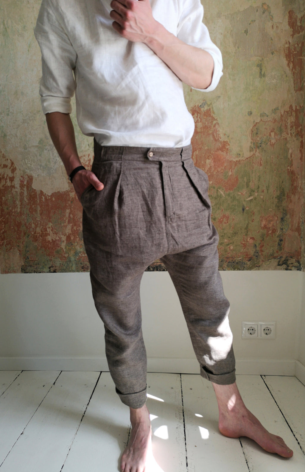 Men's linen drop crotch pants, Tapered linen trouser, Men's harem pants - VA2DU