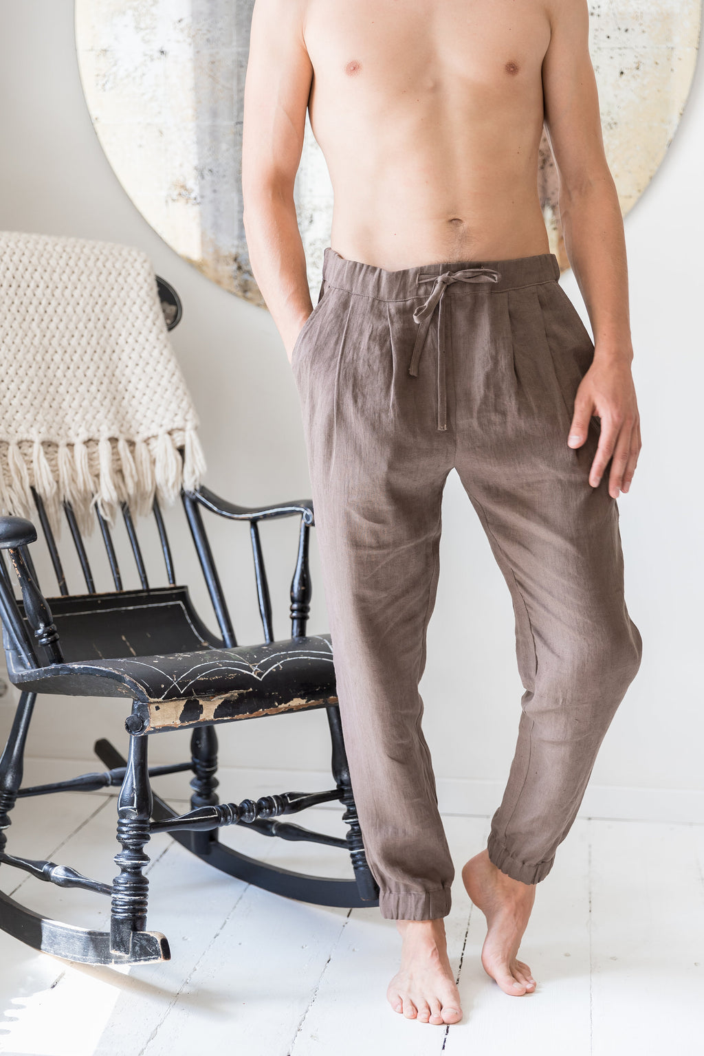 Men's linen pants. Linen harem trousers for men. Elastic waist linen yoga pants. - VA2DU