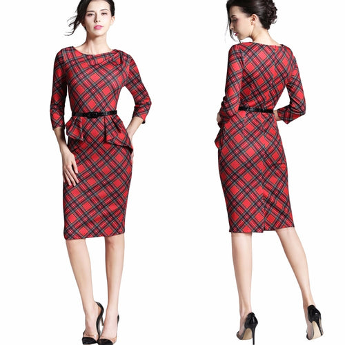 Tartan Red  Fitted Dress