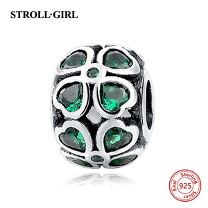 925 Sterling Silver Green Heart CZ Four Leaf lover Pandora Style Charm
