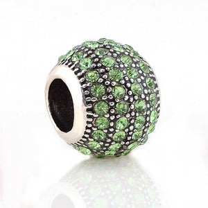 Antique Silver Plated Charm with 80 Green Rhinestones