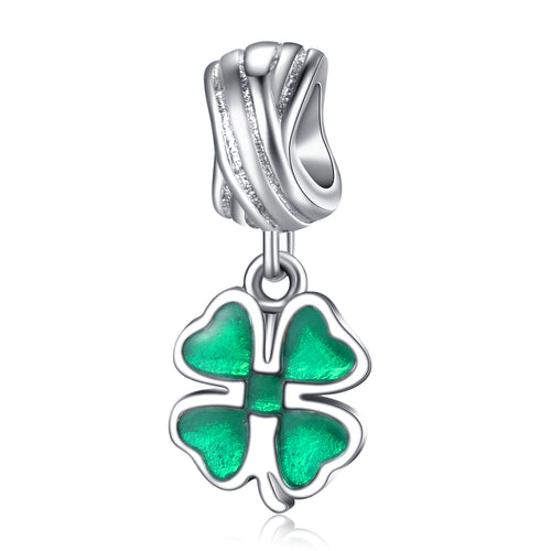 925 Sterling Silver Four Leaf Clover Pandora style charm