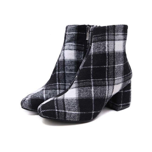 Retro Plaid Ankle Boots for Women