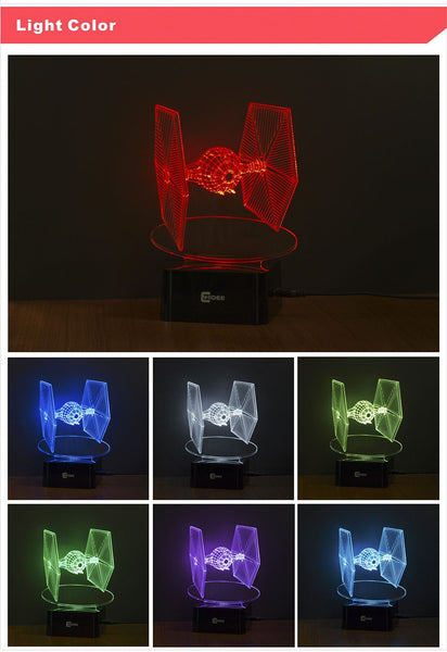 Star Wars Tie Fighter 3D Led Deco Lamp USB- Switching between 7 Colors