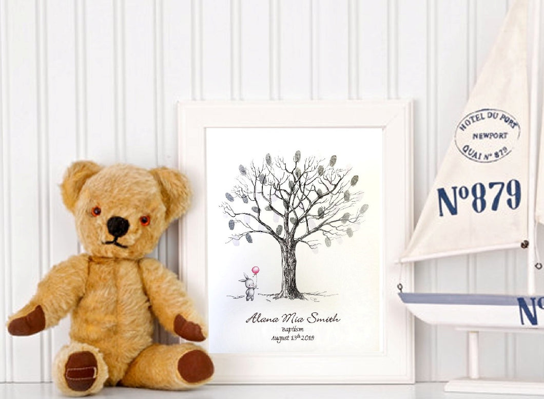 Christening Fingerprint Tree- Bunny & Balloon