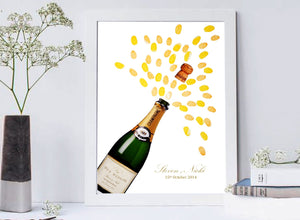 Wedding/ Anniversary Fingerprint Guest Book- Champagne Bottle