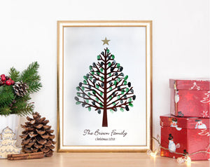 Personalised Christmas Fingerprint/ Thumprint Tree- Unique Gift