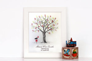 Christening Fingerprint Tree - Little Girl - Naming Day/ Birthday - Unusual Gift!