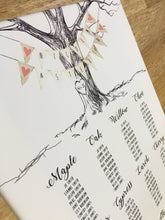Wedding Table Plan / Seating Plan - Vintage Tree With Heart & Initials - Table Names, Numbers, Place Cards