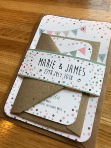 Wedding Invitations Vintage Bunting & Dots- Fully Customised