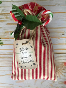 Christmas Eve Bag / Box- Handmade Bag Filled With Wildlife Friendly Reindeer Food, Belgium Hot Chocolate Spoon and More!!