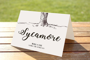 Personalised Wedding Invitations- Vintage Tree With Bunting & Heart Initials