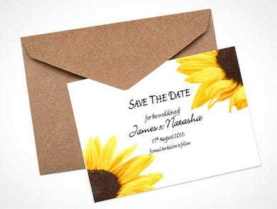Sunflower Wedding Save The Date Card / Magnet