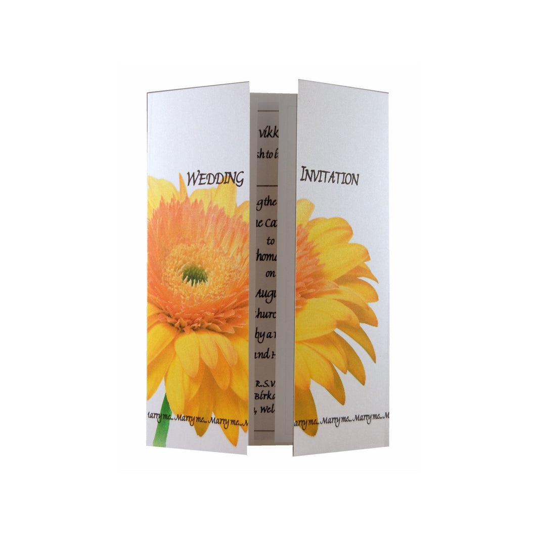 Yellow Gerbera Wedding Invitation On Gatefold Card