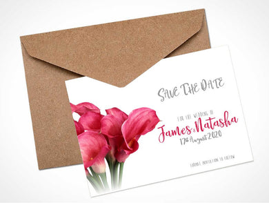 Pink Calla Lily Wedding Save The Date Card / Magnet