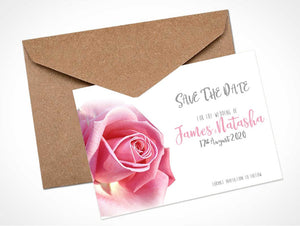 Pink Rose Wedding Save The Date Card / Magnet